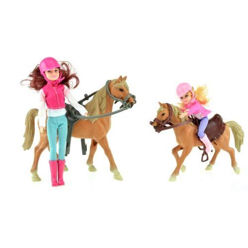 Toi-Toys Toi Toys Pferde Pferd mit Fohlen und zwei Puppen
