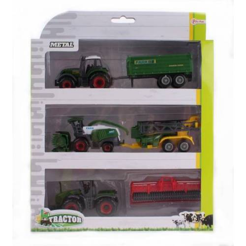 Toi-Toys Toi Toys Metallschlepper Set mit grünem Anhänger 16 cm