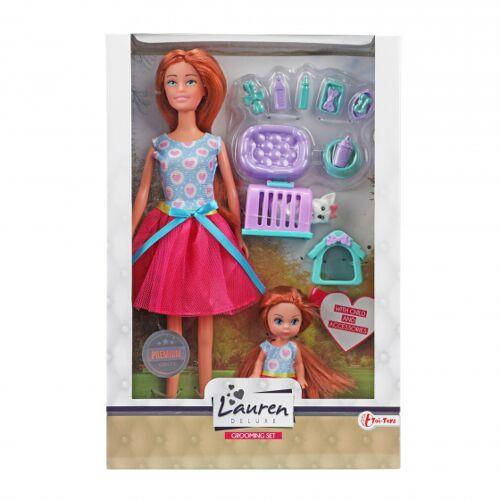 Toi-Toys Toi Toys teenie Puppe mit Kind und Hund Mädchen Gummi rosa
