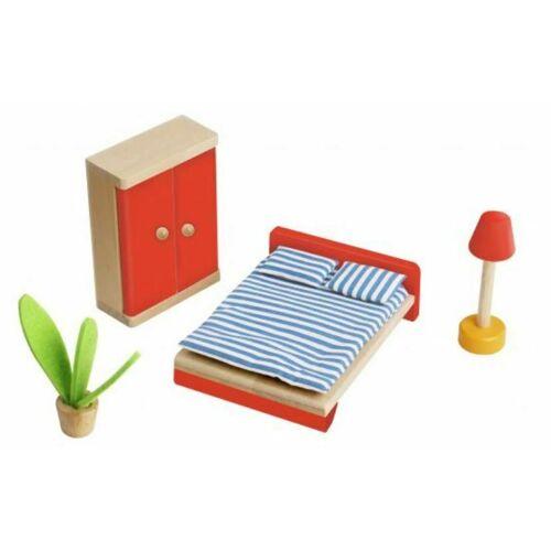 Tooky Toy puppenhaus Inneneinrichtung Schlafzimmer Holz natur / rot 4 teilig