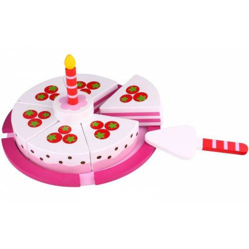 Tooky Toy geburtstagstorte 19,5 cm Holz weiß/rosa 8 teilig