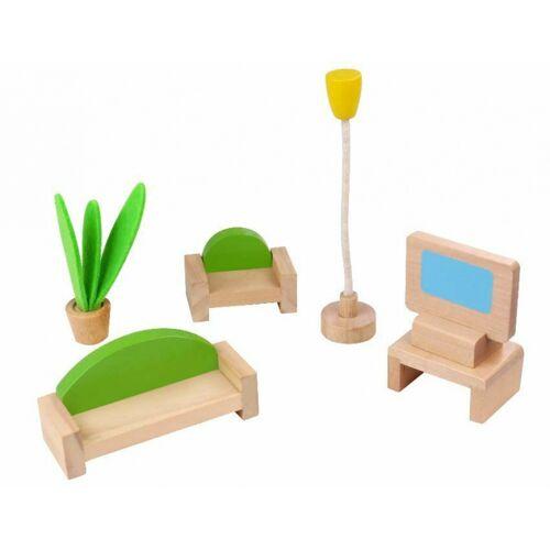 Tooky Toy puppenhaus Inneneinrichtung Wohnzimmer Holz natur 5 teilig