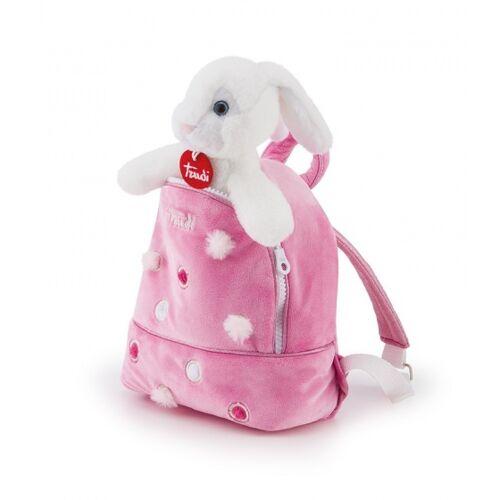 Trudi kaninchen Kuscheltier im Rucksack weiß/rosa 19 x 20 x 11 cm