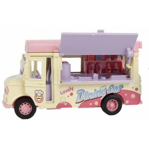 Toys Amsterdam kleintransporter Eiscreme Junior 11 cm gelb/rosa 2 teilig