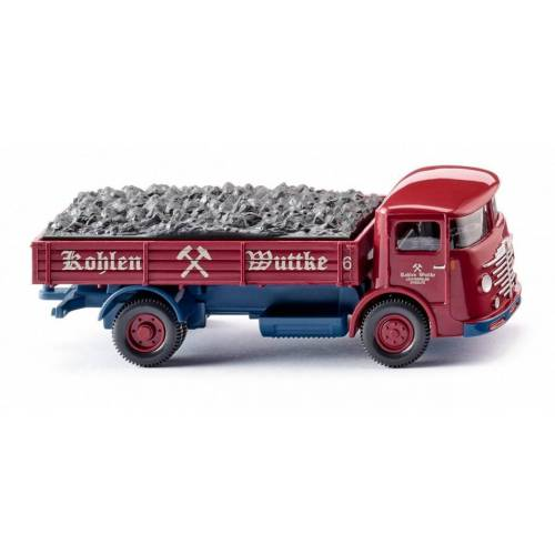 WIKING miniatur LKW Büssing 4500 Kohlen Wuttke 1:87 rot