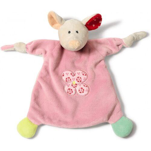 Nici stofftier Mouse 25 x 25 cm Plüsch weiß/rosa