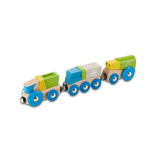 Everearth Eisenbahnwagen Holz 25,4 cm blau/grün 3 teilig