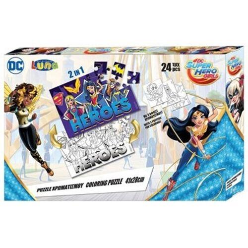 DC Comics puzzle/Malseite Superhero Girls 2 seitig 24 Teile