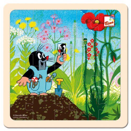 Bino puzzlespiel Mole Tuin junior 20 cm Holz blau/grün 20 teilig