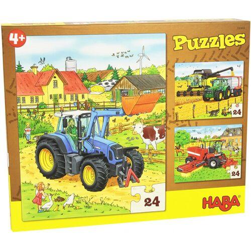 Haba puzzle Traktor & Co 3 in 1 Puzzle Jungen Karton 3 x 24 Teile