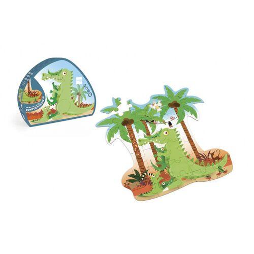 Scratch puzzle Krokodil junior 49 cm Karton grün 36 teilig