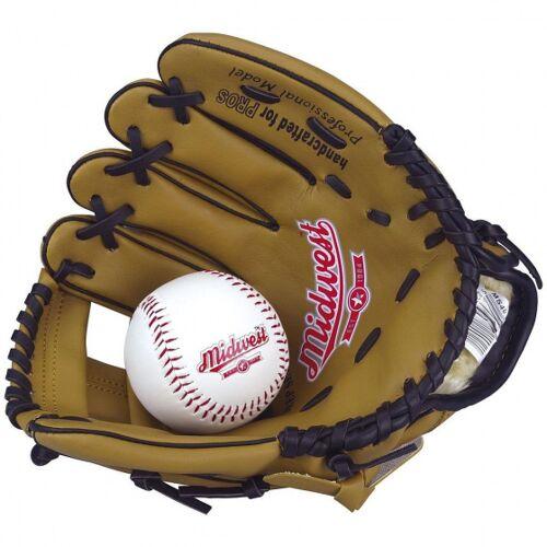 Midwest baseballhandschuh mit Ball linke Hand Junior 23 cm braun