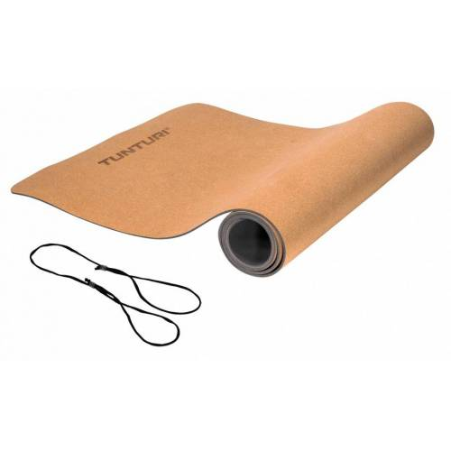 Tunturi yogamatte eco 183 x 61 cm TPE/Kork braun/grau