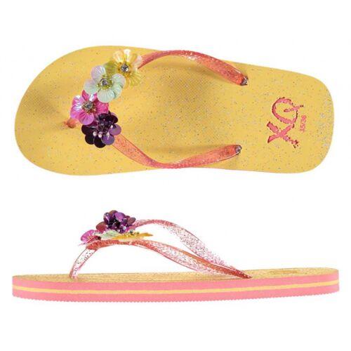 XQ Footwear hausschuhe Glitzer Mädchen gelb/rosa Größe 29 30