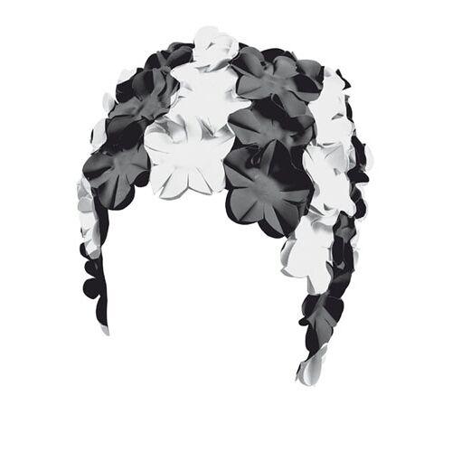 Beco badekappe Damen Gummi schwarz/weiß Blumen