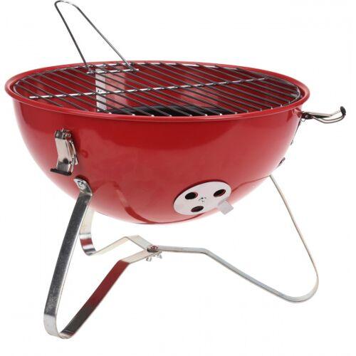 BBQ tragbarer runder Grill aus rotem Stahl 37 x 26 cm