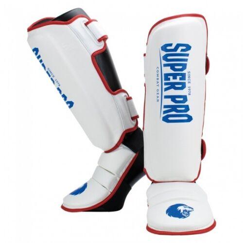 Super Pro schienbeinschoner Kampfsport rot/weiß/blau Größe XS