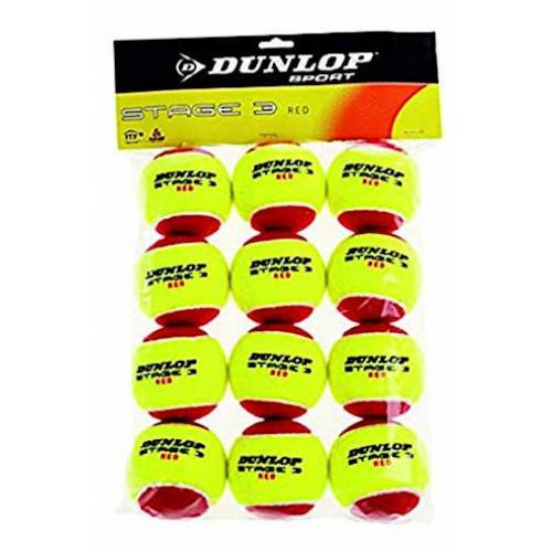 Dunlop mini Tennisball Stufe 3 Gummi/Filz rot/gelb 12 Stück