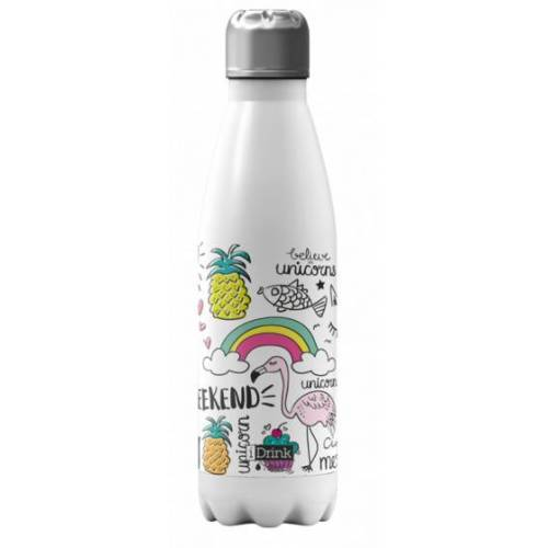 I-Drink I Drink trinkflasche Einhorn 650 ml Edelstahl weiß