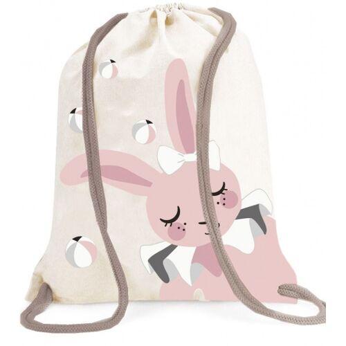 Roommate turnbeutel Hase mit Kordelzug 1,5 Liter weiß/rosa