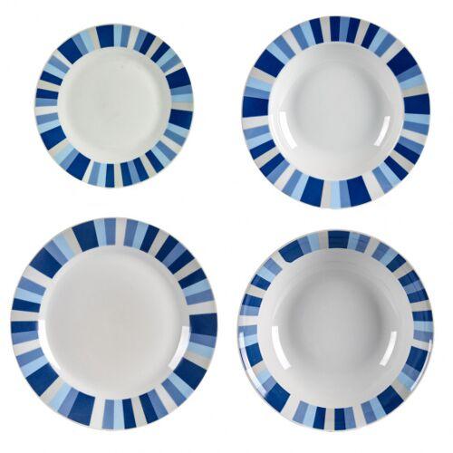 Arte Regal geschirrset Porzellan blau/weiß 19 Stück