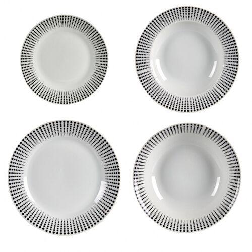 Arte Regal geschirrset Porzellan schwarz/weiß 19 Stück
