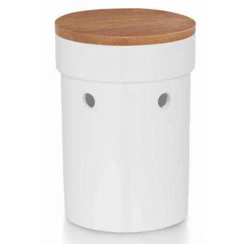 Kela Keuken knoblauchtopf Salena 17 x 12 cm Keramik weiß/braun