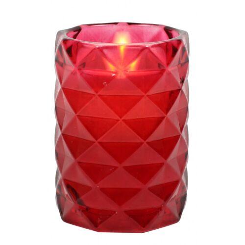 Peha bleikerze im Kerzenhalter 12 cm Wachs/Glas rot