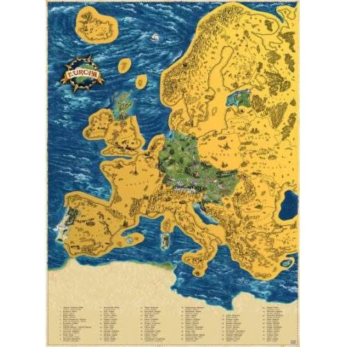 Giftio kratzer Weltkarte Europa 90 x 66 cm Papier blau/gold