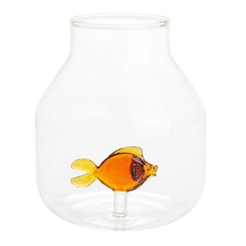 Balvi vase mit Fisch 15 x 13 cm Glas transparent/orange