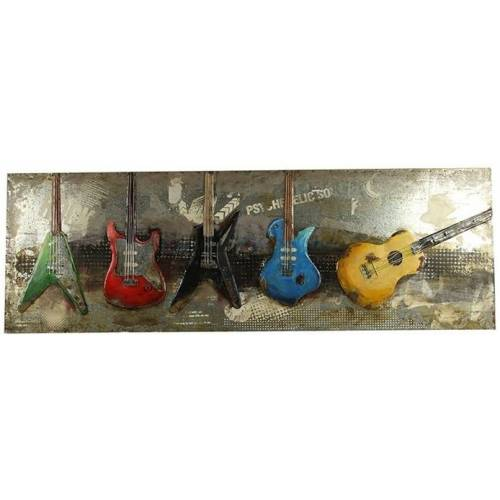 Countryfield gemälde Gitarren 180 x 60 cm stahlgrau