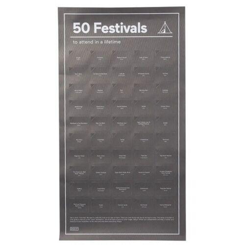 """Doiy abreißplakat """"50 Festivals"""" 64 cm Papier schwarz"""