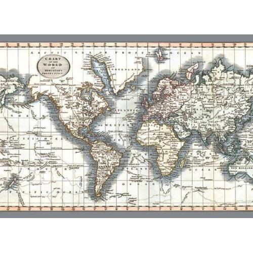 Exclusive Edition teppich Weltkarte 195 x 135 x 0,5 cm grau/beige