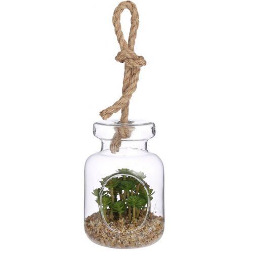 Mica Decorations künstliche Fettpflanze Sedum 14,5 cm glasgrün/braun
