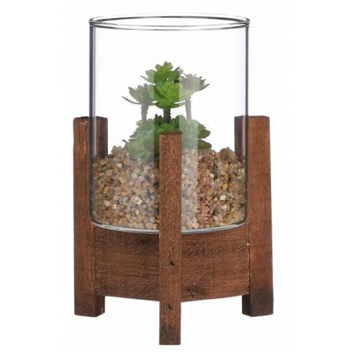 Mica Decorations künstliche Fettpflanze Sedum 15 cm Glas/Holz grün
