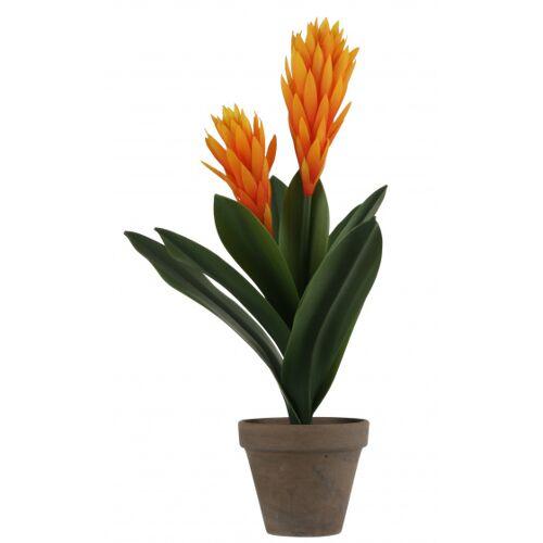 Mica Decorations künstliche Pflanze Bromelia 45 cm Keramik Orange