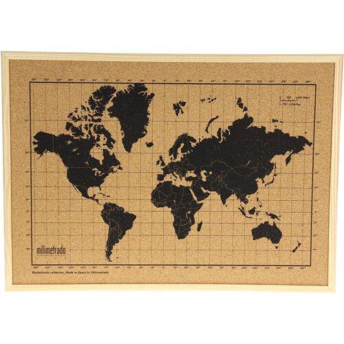 Milimetrado anschlagbrett Wereldkaart40 x 30 cm Kork/Holz weiß/schwarz