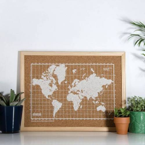 Milimetrado pinnwand Weltkarte 40 x 30 cm Kork braun/weiss