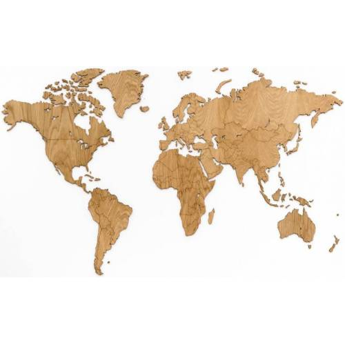 MiMi Innovations Exklusive Wanddekoration Weltkarte 130 x 78 cm aus klarem Holz