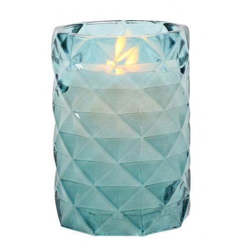 Peha bleikerze im Kerzenhalter 12 cm Wachs/Glas blau