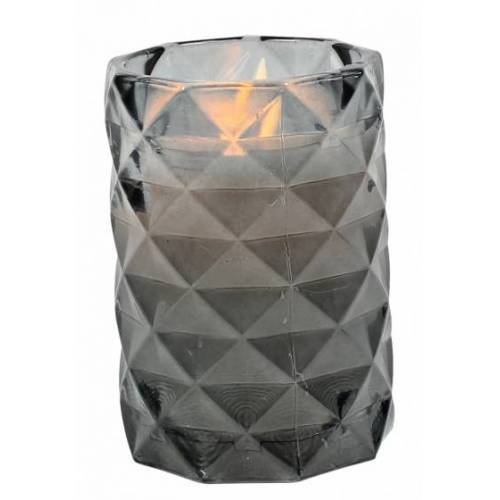 Peha bleikerze im Kerzenhalter 12 cm Wachs/Glas grau