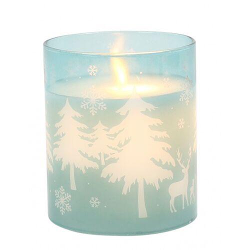 Peha lED Kerze im Kerzenhalter 8 x 12 cm Wachs/Glas blau
