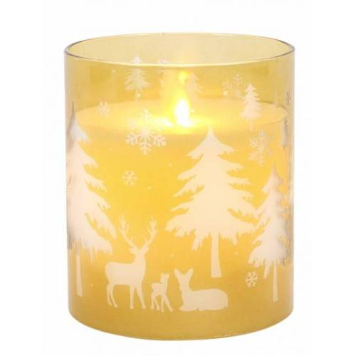 Peha lED Kerze im Kerzenhalter 8 x 12 cm Wachs/Glas gelb