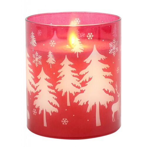 Peha lED Kerze im Kerzenhalter rund 7 x 10 cm Wachs/Glas rot