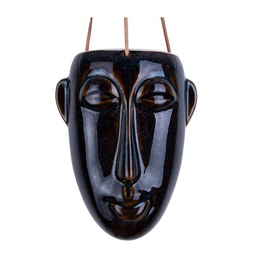 Present Time pflanztopf Maske Lang 22 cm Porzellan braun