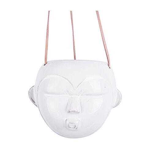 Present Time pflanztopf Maske Rund 18 cm Porzellan weiß