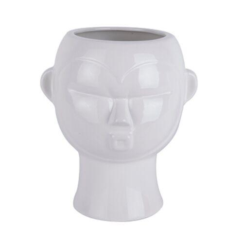 Present Time pflanztopf Maske Rund 22 cm Porzellan weiß