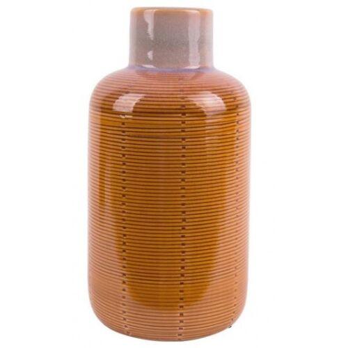 Present Time vase Flasche 12 x 23 cm Keramik gelb