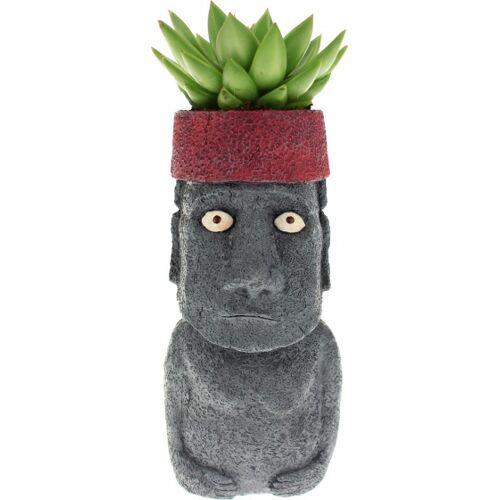 Rotary Hero blumentopf Moai 27 x 10 cm Polyresin dunkelgrau