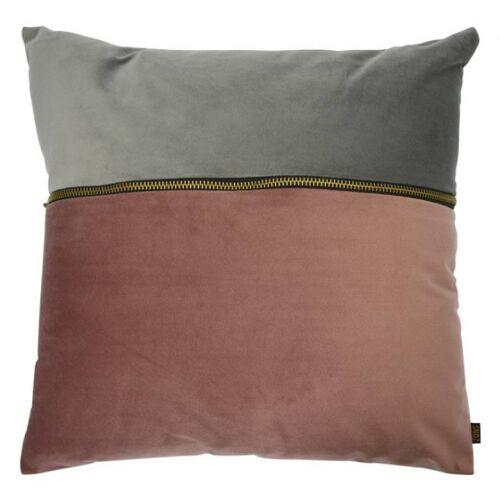 Zons kissen mit Reißverschluss 40 x 40 cm Samt grau/rosa